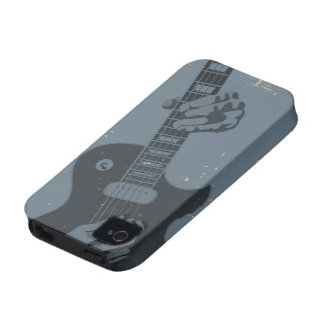 Blue & Black Rustic Guitar Player iPhone 4/4S Cases