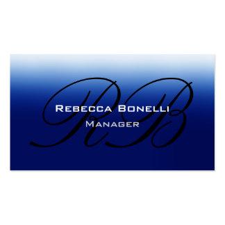 Blue Black Script Monogram Manager Business Card