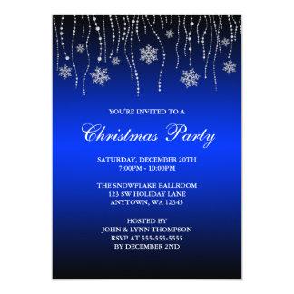 "Blue Black Sparkle Snowflakes Christmas Party 5"" X 7"" Invitation Card"