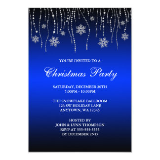 Blue Black Sparkle Snowflakes Christmas Party Card