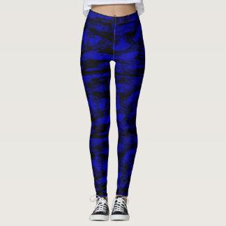blue black spots leggings