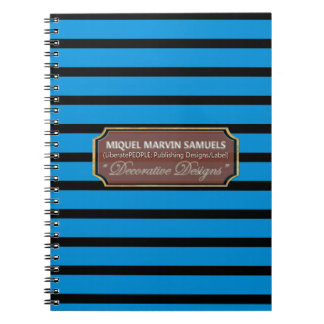 Blue Black Stripes Decorative Modern Notebook