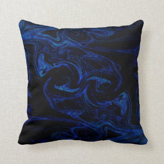 Blue Black Swirl Abstract Smoky Cool Throw Pillow