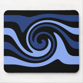 Blue black swirl mouse pad