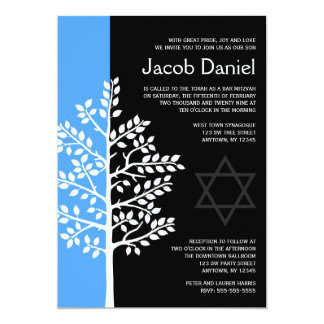 Blue Black Tree of Life Bar Mitzvah Invitations