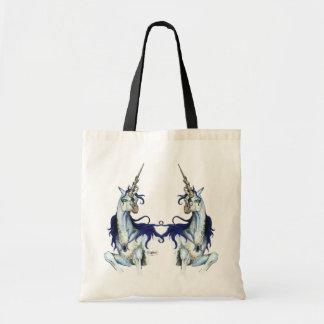 Blue Black Unicorn Magical Purple Tote Bag
