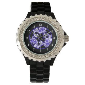 Blue Black Vintage Floral Wrist Watches
