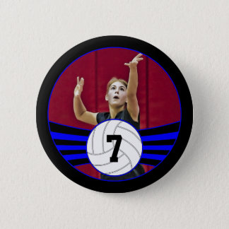 Blue & Black Volleyball Photo and Jersey Number 2 Inch Round Button