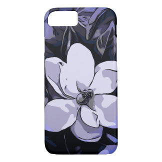 Blue Black White Abstract Flower iPhone 7 Case