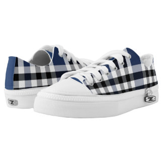 Blue/Black/White Check Plaid Low Tops