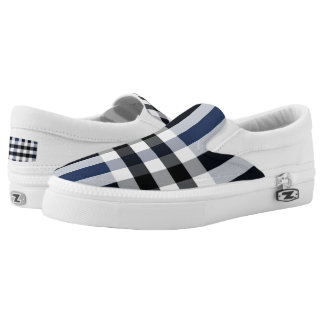 Blue/Black/White Check Plaid Slip On Sneakers
