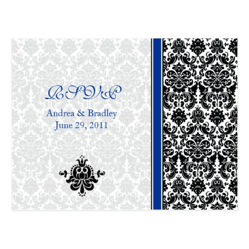 Blue, Black, White Damask RSVP Postcard