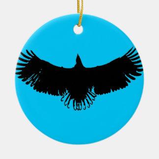 Blue Black & White Eagle Silhouette Ornament