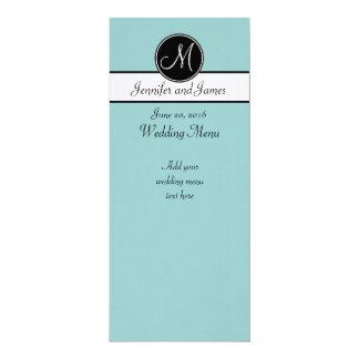 "Blue Black White Monogram Wedding Menu 4"" X 9.25"" Invitation Card"