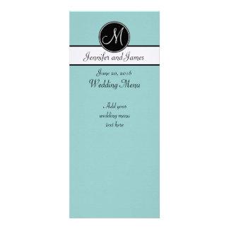 Blue Black White Monogram Wedding Menu Custom Announcements