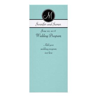 Blue Black White Monogram Wedding Programs Announcement