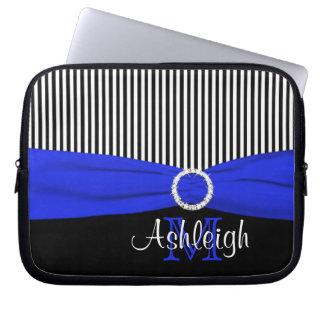 Blue Black White with FAUX Ribbon Laptop Sleeve