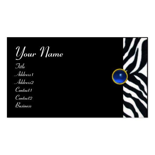 BLUE  BLACK WHITE ZEBRA FUR MONOGRAM ,Sapphire Business Card Template