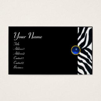 BLUE  BLACK WHITE ZEBRA FUR MONOGRAM ,Sapphire Business Card