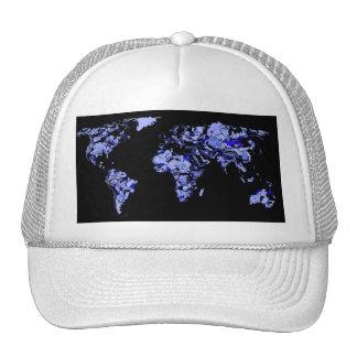 Blue black world map trucker hat