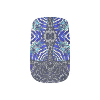 Blue Black Zebra Bling Fingernail Decal