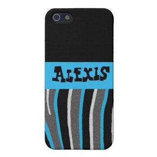 Blue & Black Zebra iPhone 5 Cases