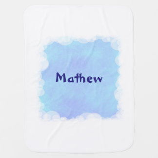Blue Blends White Clouds Personalized Baby Blanket