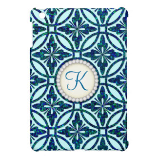 Blue Bling Geometric Pattern Monogram iPad Mini Cases