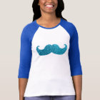 Blue Bling moustache  (Faux Glitter Graphic) T-Shirt