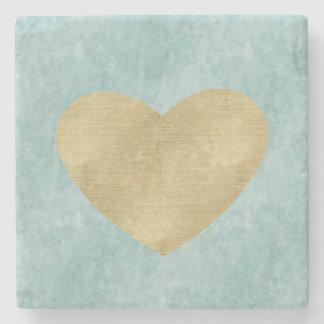 Blue Bliss Gold Heart Stone Coaster