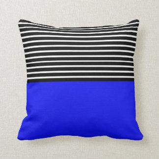 Blue Block Black White Stripes Throw Pillow