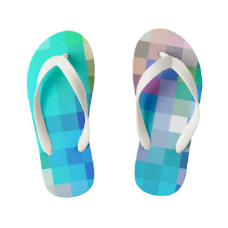 blue blocks kid's flip flops