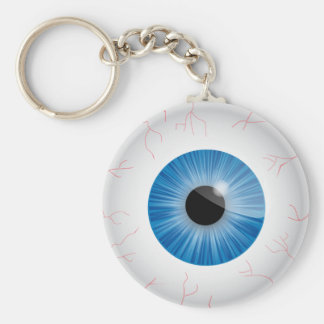 Blue Bloodshot Eyeball Keychain