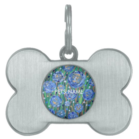 Blue Blooms Pet Tag