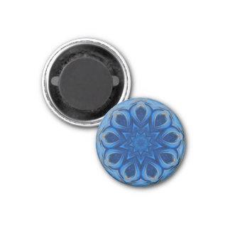 Blue Blossom Mandala 1 Inch Round Magnet