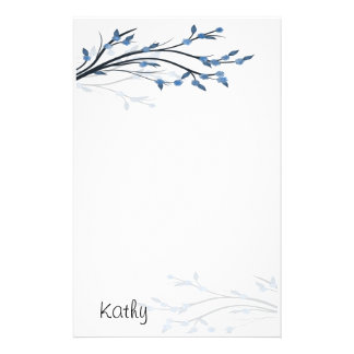 Blue Blossoms Stationery