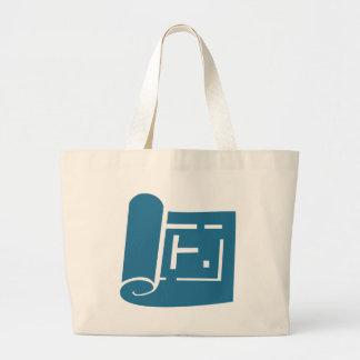 Blue Blueprint Plan Icon Jumbo Tote Bag