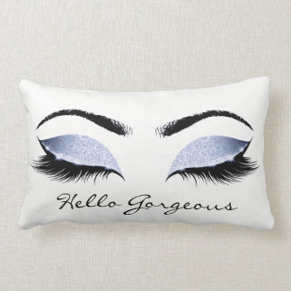 Blue Blush Glitter Makeup Lashes Hello Gorgeous Lumbar Pillow