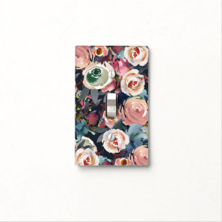 Blue Blush Pink Pastel Floral Chic Modern Flowers Light Switch Cover