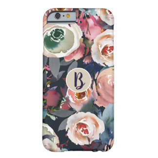 Blue Blush Pink Pastel Floral Modern Monogram Chic Barely There iPhone 6 Case