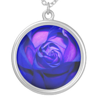 Blue Blushing Rose Necklace