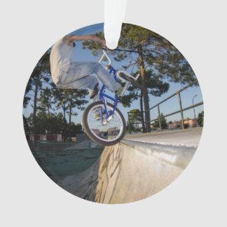 Blue BMX Balancing on Ledge Ornament