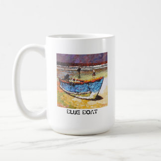 Blue Boat Basic White Mug