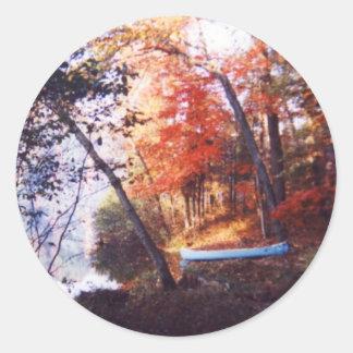 Blue Boat Round Sticker