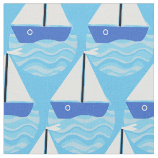 Blue boat with white sails on ocean waves fabric