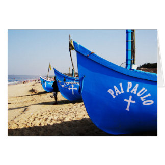 Blue Boats on Candolim Beach Goa India Card