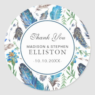 Blue Boho Aztec Watercolor | Thank You Classic Round Sticker