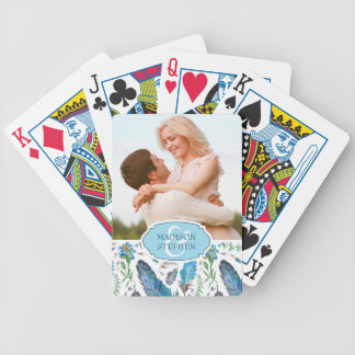 Blue Boho Aztec Watercolor - Wedding Photo Bicycle Playing Cards