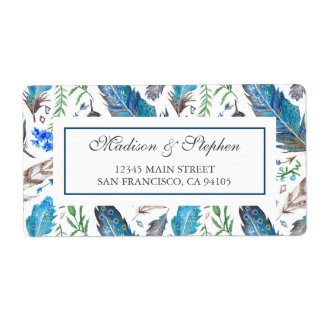Blue Boho Aztec Watercolor -  Wedding Shipping Label