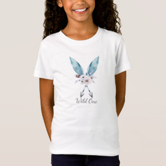 Blue Boho Bohemian Arrows Feather Floral Girls T-Shirt